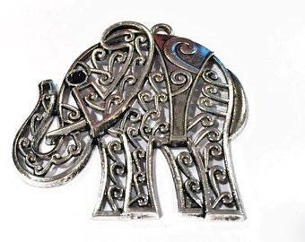 SALE: 65x50mm Large Tibetan Silver Filigree Lightweight Elephant Pendant, Necklace finding, jewelry making craft supplies supplier,