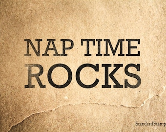 Nap Time Rubber Stamp - 3 x 2 inches