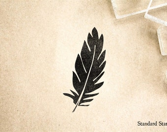 Dark Feather Rubber Stamp - 2 x 2 inches