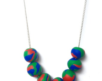 """Handmade Polymer Clay Necklace """"Carnival"""""""