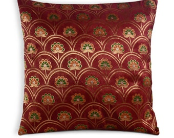 Coral and Gold Flower Silk Pillow Cover - Handmade Silk Throw Pillow - Decorative Pillow Cover - Cushion Cover 20x20