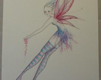 Pink Fairy/Original Watercolour Painting/Fairy Art/Fairy/Faerie Art/Original Art