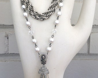 Vintage Assemblage Long Chain Necklace Pearls and Crystals