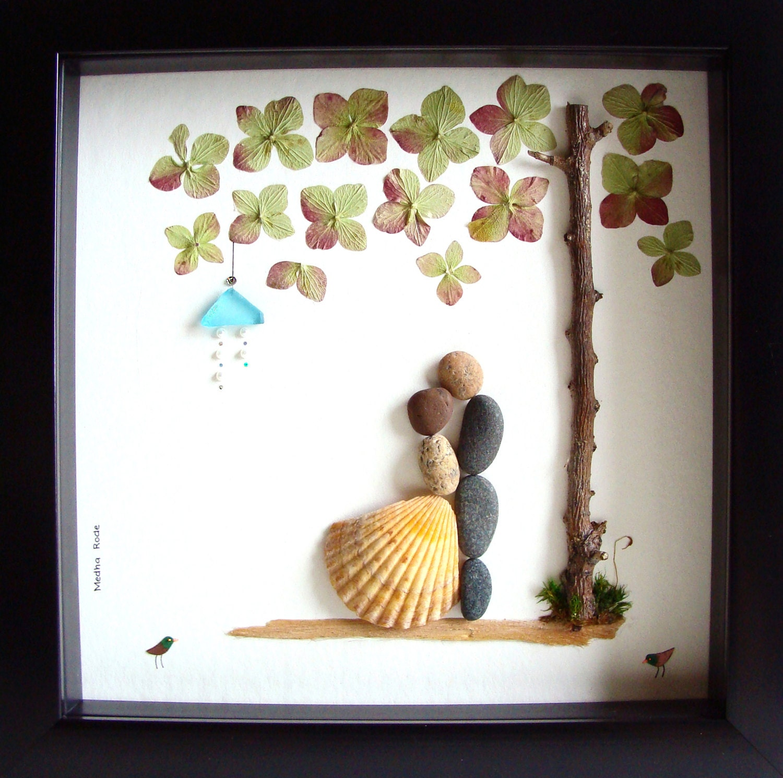 Pebble Art Wedding Gift : Wedding Gift Pebble Art-Unique Engagement Gift-Personalized