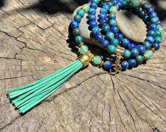 AZURITE & GREEN AVENTURINE Mala Beads with Green Suede Tassel   108 Bead Crystal Mala Yoga Necklace   Om Meditation Beads by Mayan Rose