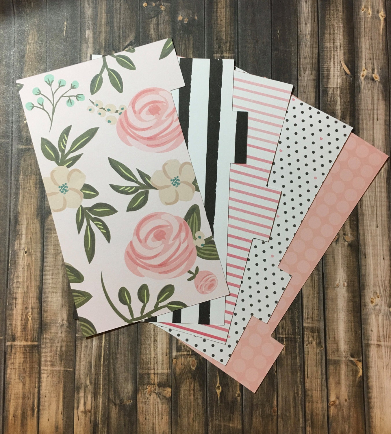 Planner Dividers BLUSH ROSE Pink Hearts Black & by planNIRVANA