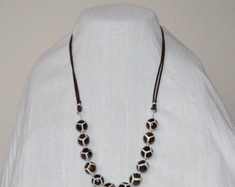 Wild Side Giraffe Agate & Leather Long Necklace