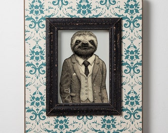 Savvy Sloth - Valentine's Gift - Sloth Art - Sloth Lover - Gift for Him - Gift for Her