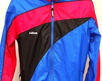 Vtg 80s 90s Color Block Windbreaker Jacket by Hind Unisex Mens Womens M Coat Pink Blue