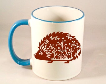 Whimsical Hedgehog Coffee Mug, Funny Coffee Mug, Cute Hedgehog Coffee Cup, Hedgehog Mug, Sublimated 11 oz 4 Colors, Handle & Rim