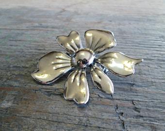 Vintage Silver Flower Brooch, Large Flower Brooch, Vintage Flower Pin, Flower Broach, Vintage Flower Jewelry,  1960's Brooch, 1960's Jewelry