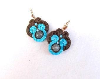 Dangle Earrings , Turquoise Soutache Earrings , Handmade Turquoise Brown Jewelry , Gift for Her
