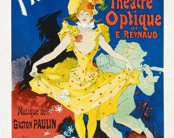 """Jules Cheret Performing Arts Poster : """"Musee Grevin, Pantomimes Lumineuses"""" (1896) - Giclee Fine Art Reproduction"""