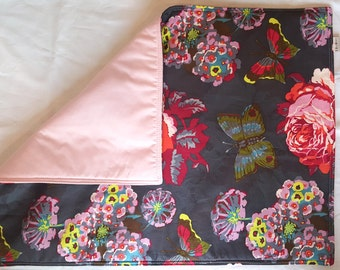 Baby girl mat, diaper pad, travel changing pad, changing mat, lou lou thi with baby pink, rolls up neatly with elastic