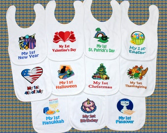 Personalized baby etsy first holiday baby bib yearly set new baby shower gift idea unique custom bib boy negle Image collections