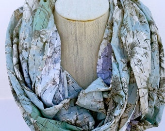 Gray-Yellow Floral Infinity Scarf