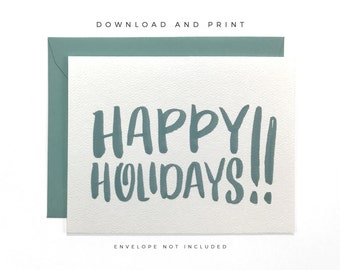 Printable Happy Holidays Card, Hand Lettered Happy Holidays Card, Holiday Greeting Card