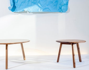"""Solid wood end table occasional table // mid century // round top splayed legs - """"Kit"""" by bff"""