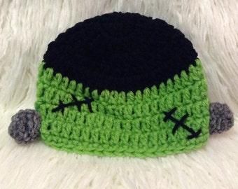 Crochet frankenstein beanie hat, frankenstein hat