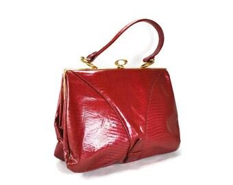 Vintage Red Vinyl Handbag, Faux Snake Skin, 1960's Retro Accessories