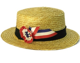 French Straw Boater Hat. Vintage Straw Hat with Bleu, Blanc, Rouge Rosette. Bastille Day Party Decor. French Hat.