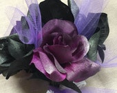 Goth Princess Purple Black and Silver Rose Tulle and Lace Unique Wedding Wrap Bouquet