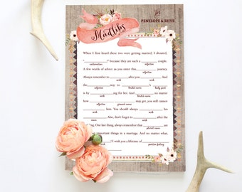 Boho Bridal Shower Madlibs - Floral Rustic Wedding Receiption Madlibs - Guestbook Alternative -  Instant Download
