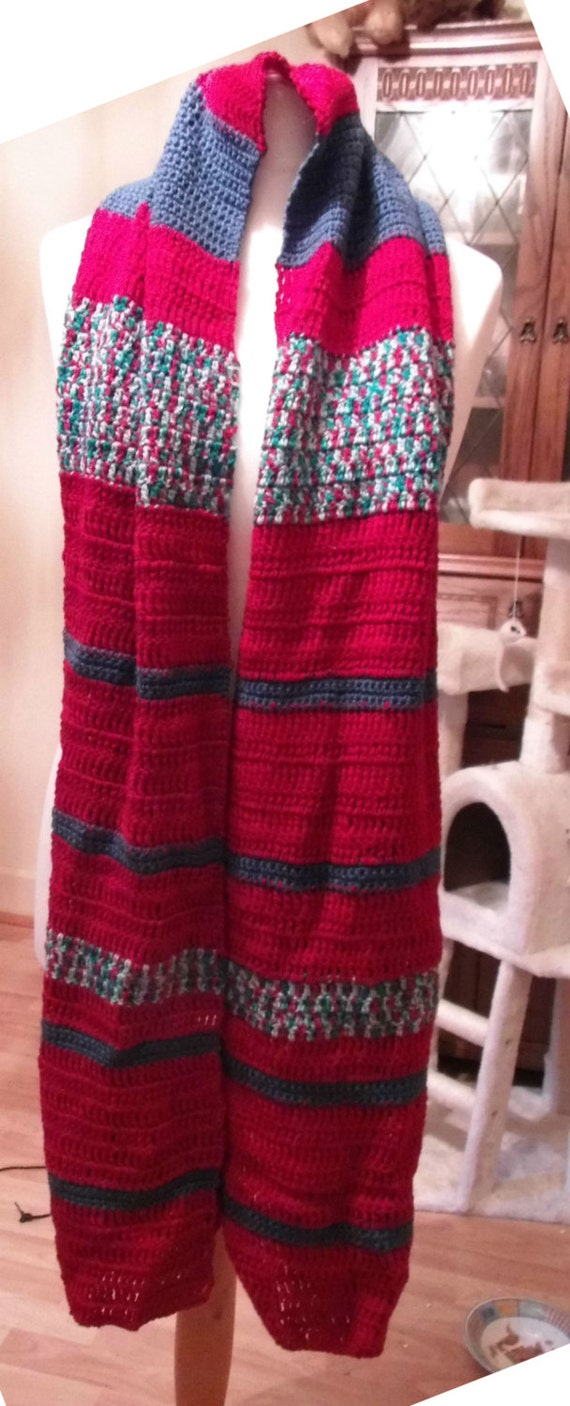 """Hand Crotcheted rich colours scarf 13""""inches wide 7ft long"""