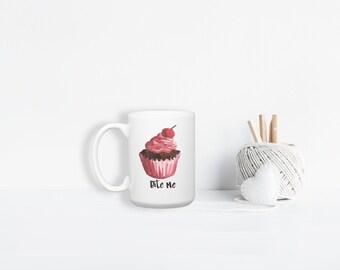 Bite Me Watercolor Cupcake Funny Snarky Sarcastic Large Ceramic Mug