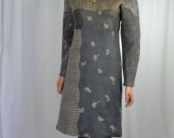 Eco fashion dress  Nuno felted   light  greyfrom natural silk and woolNuno felt dress  - Mini wool dress - Boho Pixie dress -