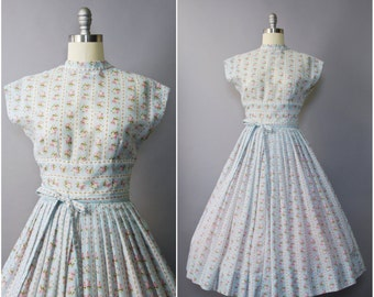 1950's Jerry Gilden Blue Rose Floral Dress • medium