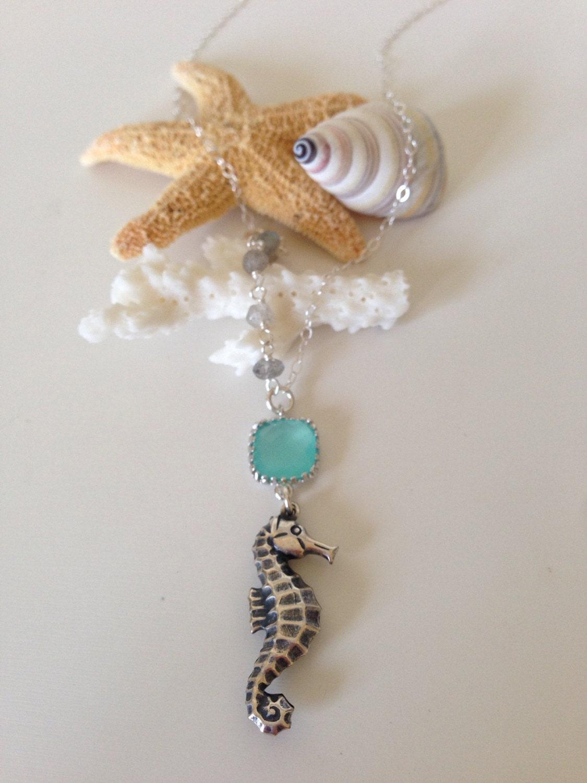asymmetrical beaded seahorse charm necklace layering boho