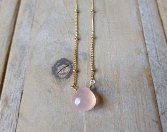 Ballet Pink Chalcedony Drop Pendant on 14K Gold Filled Satellite Chain Necklace