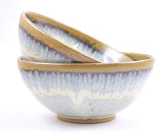 stoneware bowls. set of 2  ceramic bowls. hand thrown pottery bowls. flowing light blue glaze. set of two bowls. READY TO SHIP