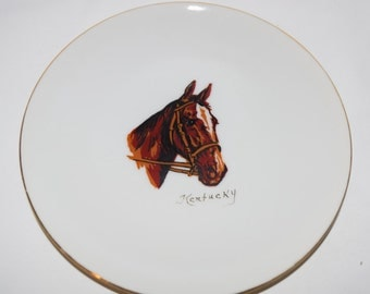 Kentucky Horse Plate Collectible Gold trimmed