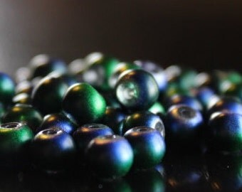 70 glass beads, 6 mm, round and smooth, frosted baking painted, hole 1 mm, green, blue, and purple
