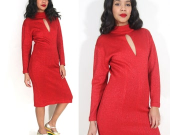 Vintage 70s 80s Red Metallic Sweater Knit Dress Keyhole Party Glam Holiday