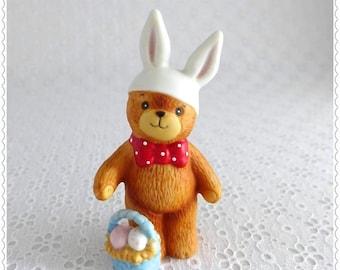 Teddy Bear Figurine, Easter Decor, Lucy and Me, Enesco 1980, Vintage Collectible, Porcelain Bear, Bunny Ears, Easter Basket, Polka Dot Tie