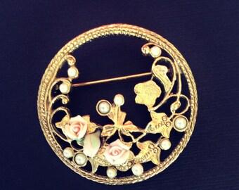 Vintage Gold Pearl and Porcelain Rose Brooch