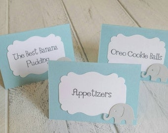 12 Light Blue Elephant Food Label Tent Cards-Elephant Baby Shower-Food Labels-Candy Bar-Place Cards