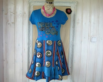 ON SALE Feel the 80's Upcycled  Summer Dress S-M