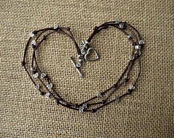 Metallic Brown Leather & Metal Wrap Bracelet~~MADE TO ORDER!!