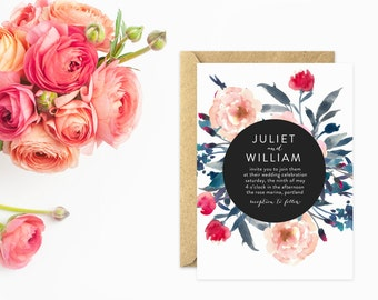 Unique Wedding Invitations, Watercolor Flowers in Pink with Modern Text
