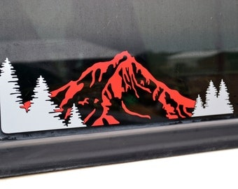 Left Sided XL Mountain & Trees Decal with 2 Colors