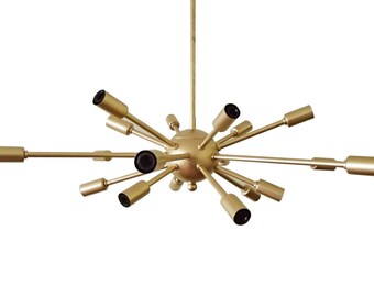 Atomic 18 Arm Sputnik Ceiling Light Mid Century Starburst Chandelier Vintage