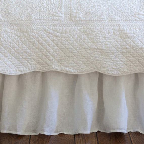 ruffled linen voile white bed skirt queen size by thenewhome. Black Bedroom Furniture Sets. Home Design Ideas