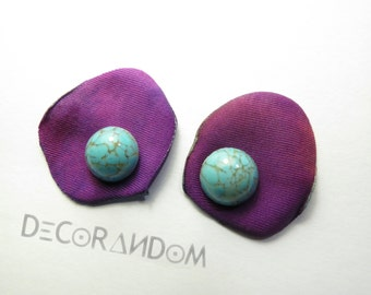 floral earrings, turquoise, purple with petal recycled fabric with Pearl turquoise, by lobo, lightweight op4