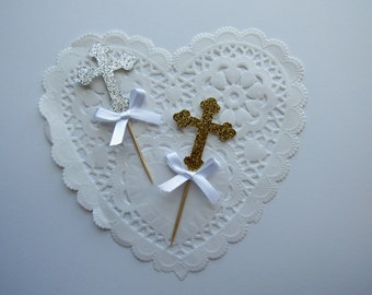 Gold/White Bows Cross Cupcake Toppers, Silver Glitter Cross Cupcake Toppers, Baptism Cupcake Toppers, Christening Cupcake Toppers, Communion