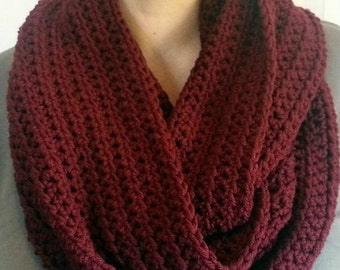 Crochet Scarf, Maroon Infinity Scarf, Gift For Her, Fashion Accessory, SALE