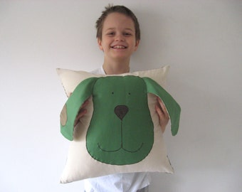 Dog Pillow Forest Green  Beige Applique Kids Decorative Whimsical Accent Throw Cover Case Farm Animal Kids Boys Room Baby Nursery Fun Decor